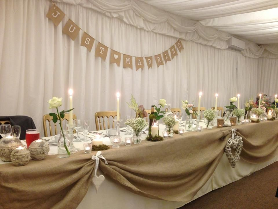 Wedding meal top table rustic marquee ivory natural hessian bunting gypsophila roses & Wedding meal top table rustic marquee ivory natural hessian bunting ...
