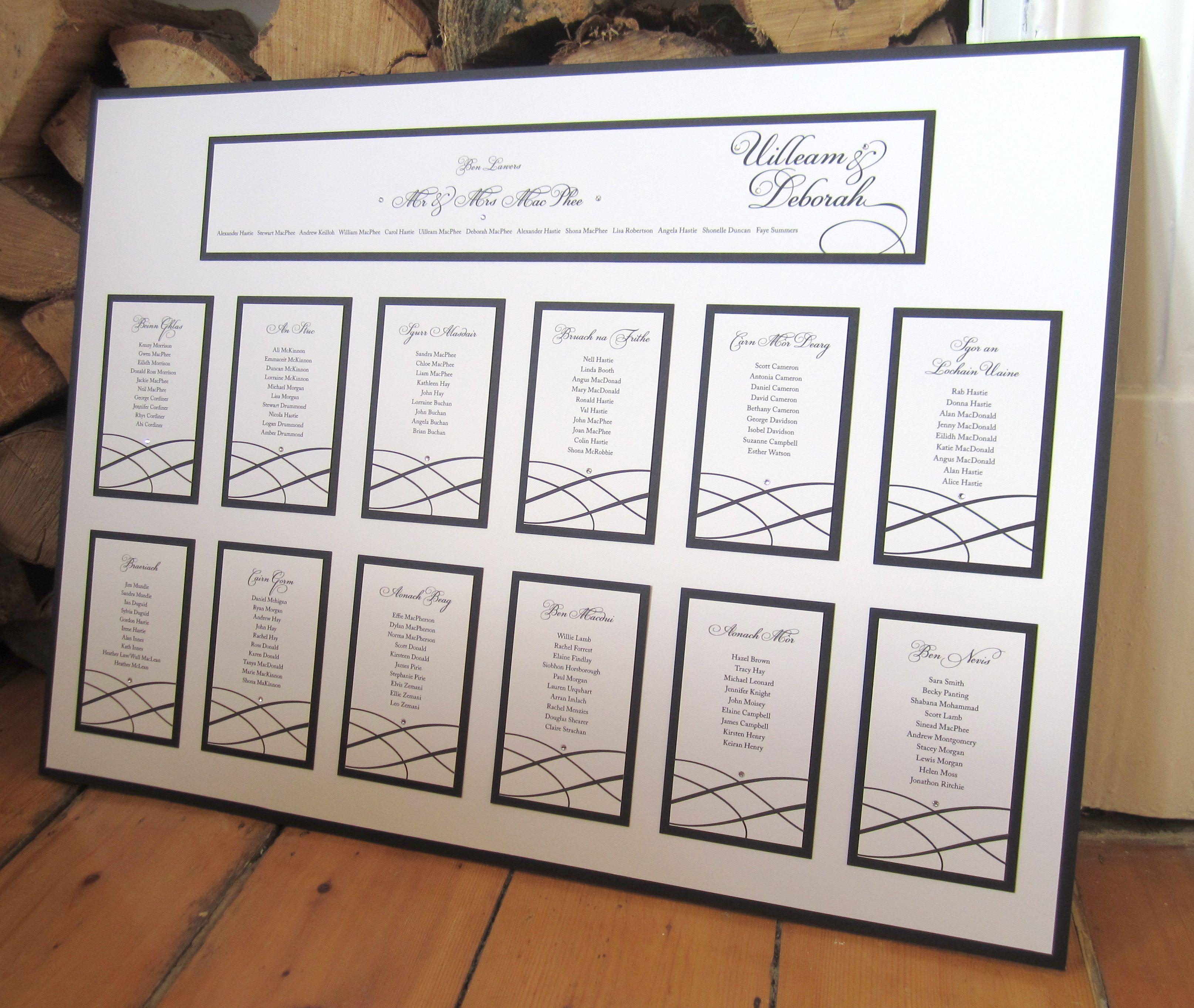 Elizabeth Table Plan Clic Elegant Design In Black From Lovat Press Www Lovatpress Co Uk