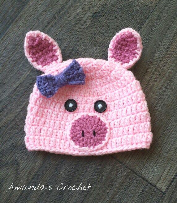 Pig hat! | Crochet | Pinterest | Gorros, Tejido y Bebe