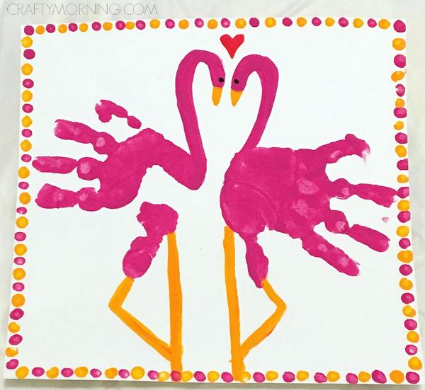 Handprint Pink Flamingo Valentines Day Craft | Pink crafts ...