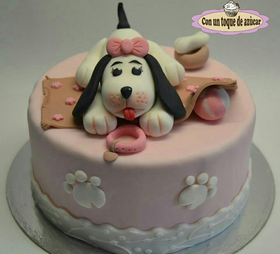 Tarta perrito fondant, dog cake