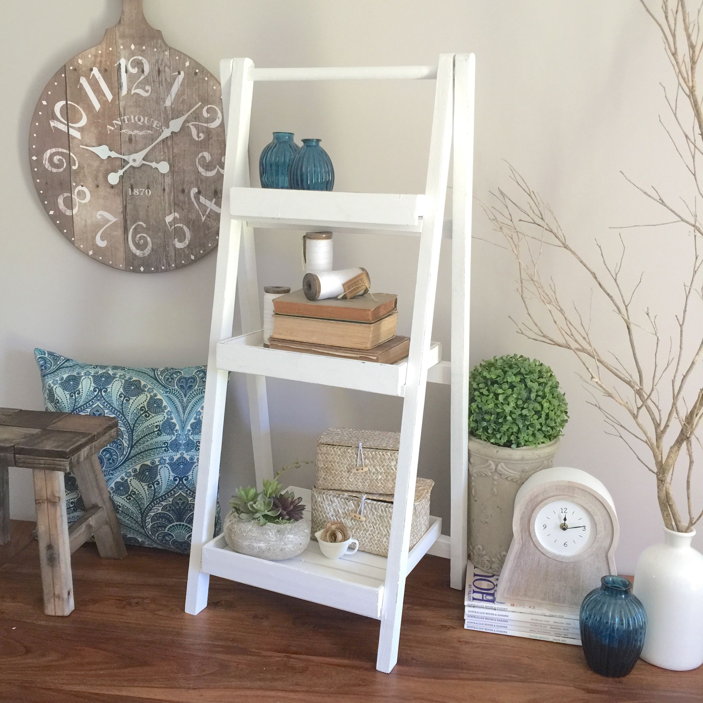 White Wooden Ladder Shelf For Your Home Wooden Ladder Shelf Frame Shelf Shelves