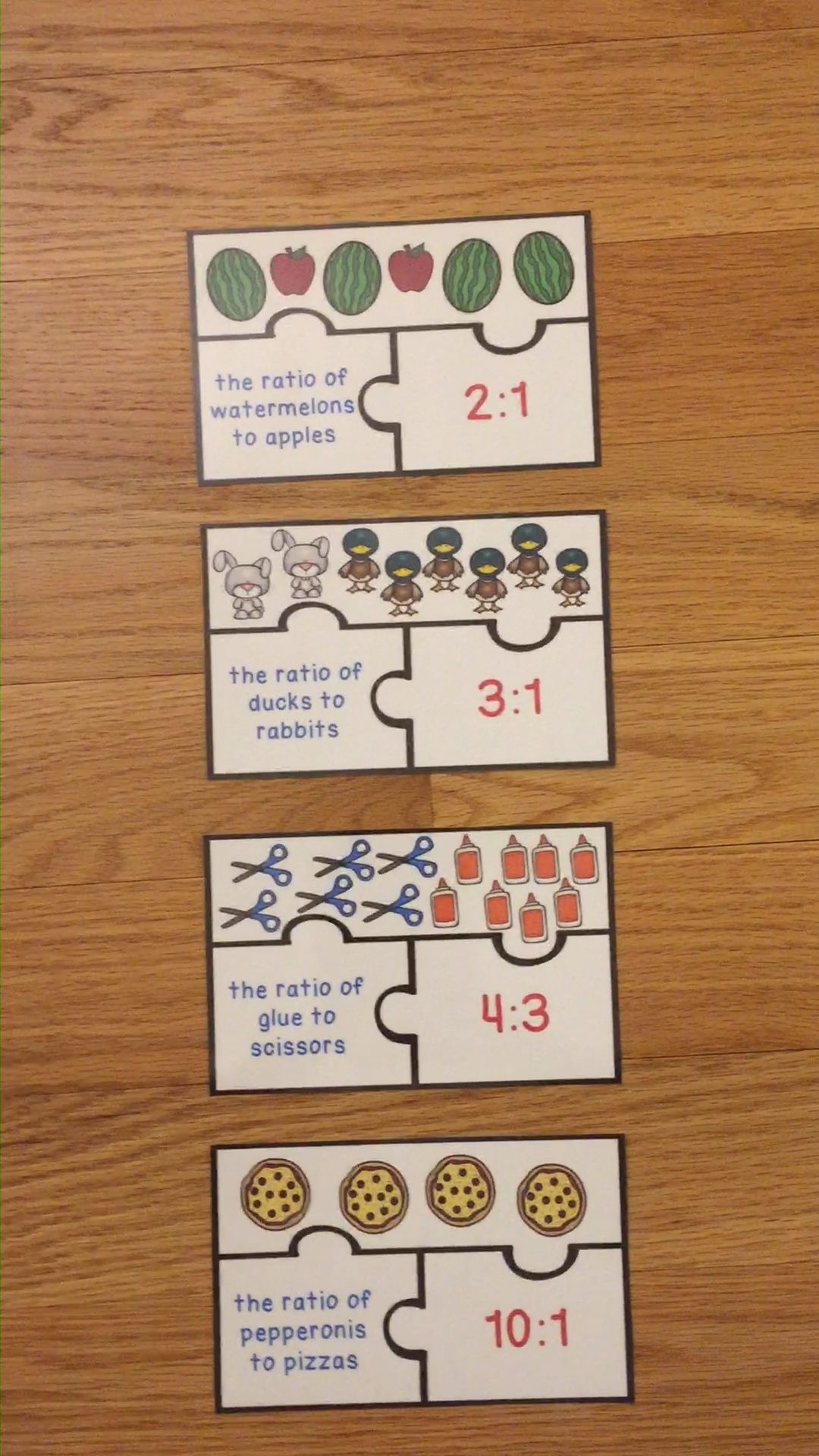 Math Center 6th Grade Ratios and Proportions Activity Puzzles 6.RP.1
