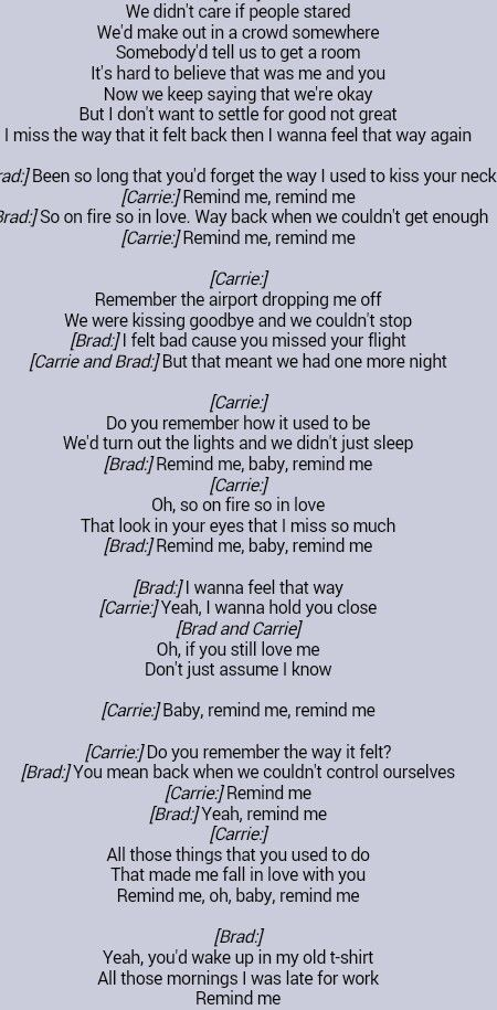 Brad Paisley Carrie Underwood Remind Me Music Quotes Lyrics Great Song Lyrics Love Song Quotes