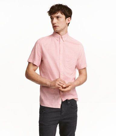 Short-sleeved Cotton Shirt   Light pink melange   Men   H&M US ...