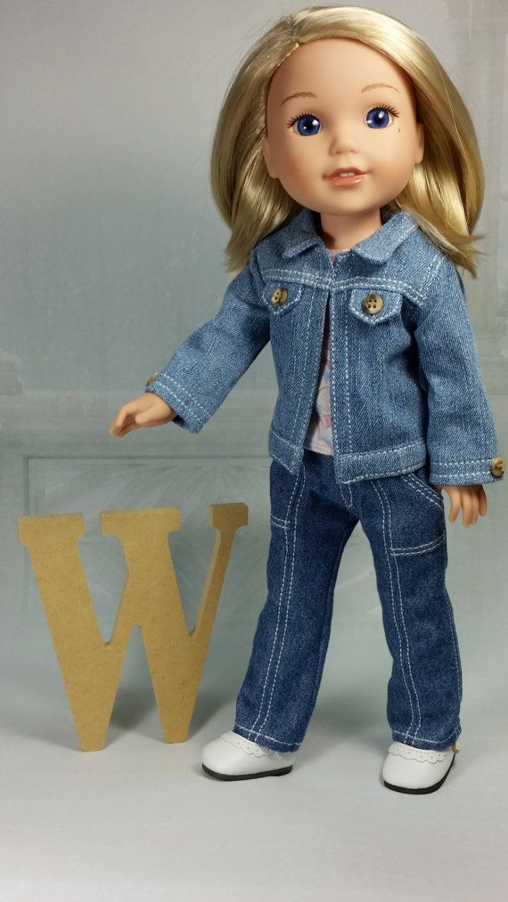 """Black Leather Jacket fits 14.5/"""" American Girl Wellie Wishers Doll Clothes Wisher"""