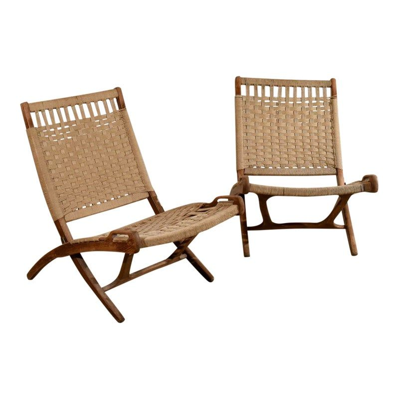 Hans Wegner Style Rope And Teak Wood Folding Chairs A Pair Wood