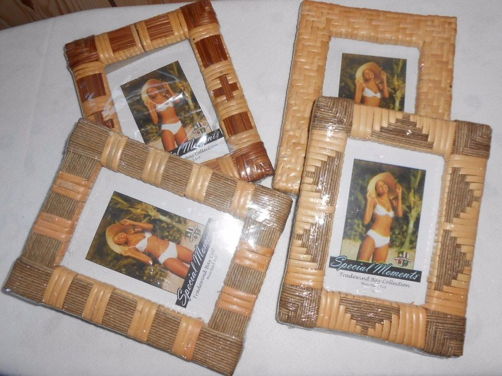 Photo FRAMES Set 4 TRADEWIND BAY COLLECTION 3.5x5 WOVEN ORNATE Straw ...