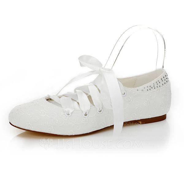 be95fd00500 Women s Satin Flat Heel Closed Toe Flats With Rhinestone (047089944)