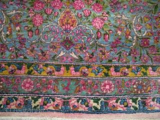 Persian Kerman Nice Wool Pink Blue Yellow Synthetic Colors 12x19 6 Franco Oriental