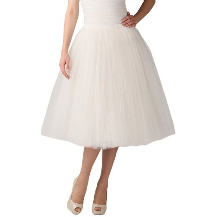 Lisong Women Tea Length Layered Tulle A-line Party Prom Skirt 14 US Champagne