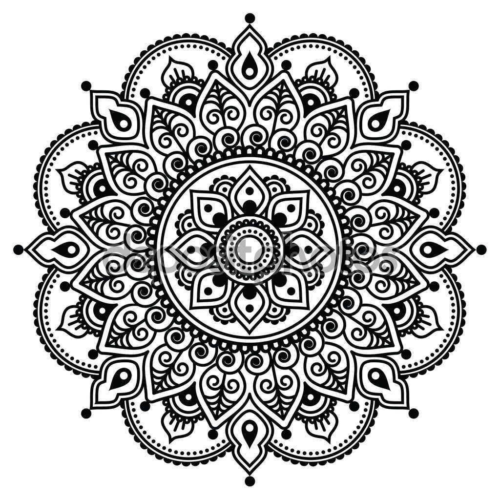Mehndi, patrón de tatuaje de Henna indio o fondo