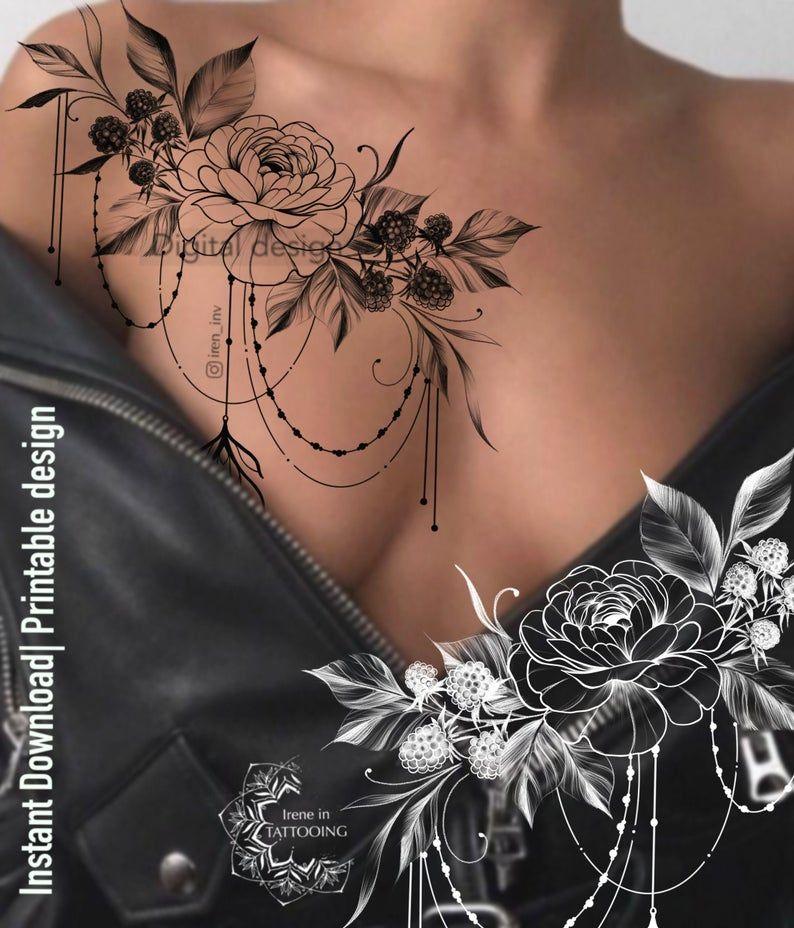 Das Pfingstrose und Himbeeren Tattoo Design | Sofortiger Download | Florale Zeichnung | Original Druck