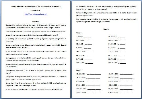 Moltiplicazione e divisione per 10 100 e 1000 di numeri ...