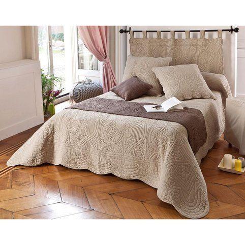 t te de lit en boutis uni coton becquet lin vue 1 lit. Black Bedroom Furniture Sets. Home Design Ideas