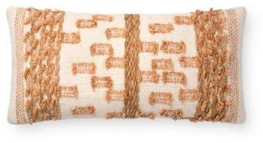 Magnolia Home By Joanna Gaines Magnolia Home by Joanna Gaines Margaret Oblong Throw Pillow in Beige/Rust #magnoliahomesjoannagaines