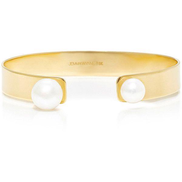Jemma Wynne Freshwater Pearls Open Cuff (£5,415) ❤ liked on Polyvore featuring jewelry, bracelets, gold, jemma wynne, cuff bangle, jemma wynne jewelry, cuff jewelry and freshwater pearl jewelry