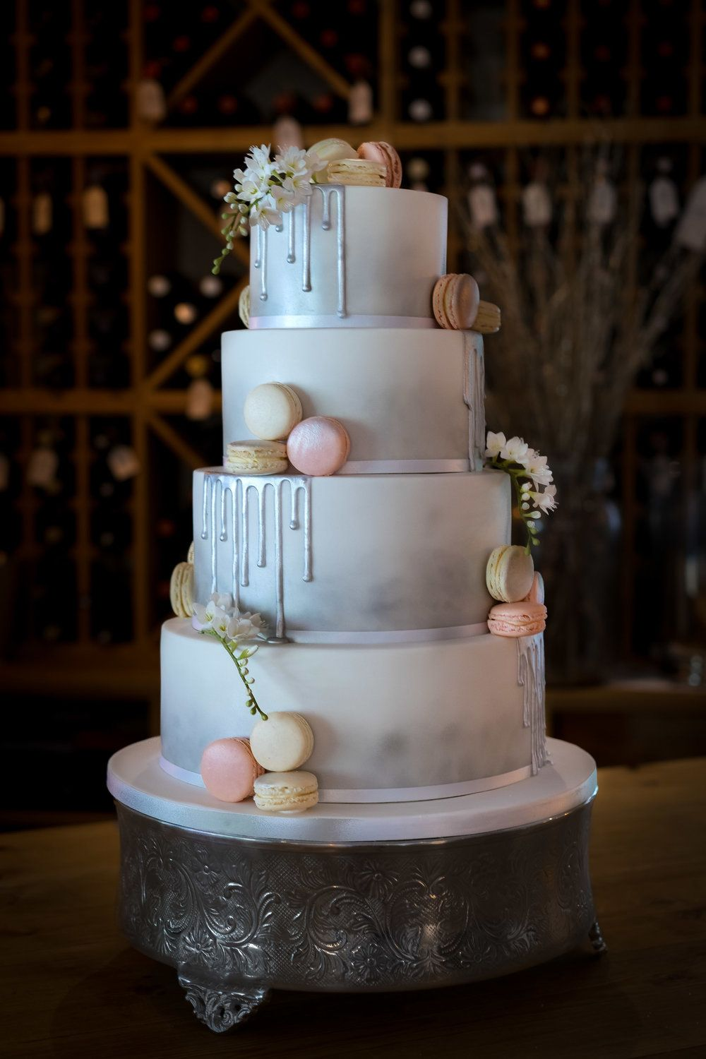 Silver Drip And Macarons Wedding Cake From Our Cake Kitchen In