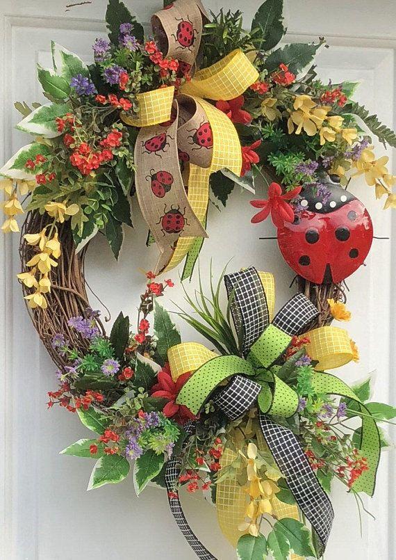 Photo of Lady Bug Wreath, Farmhouse Decor, SummerWreath, Sunflower Wreath, Sassy Doors Wreath, Grapevine Wreath, Front Door Wreath, Welcome Wreath