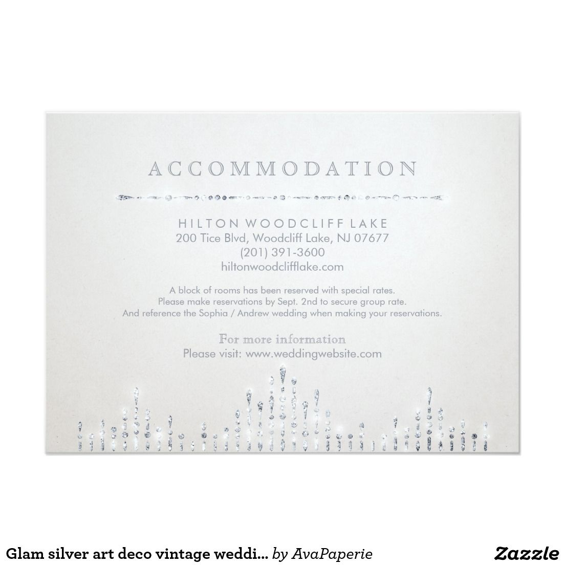 Glam silver art deco vintage wedding accommodation