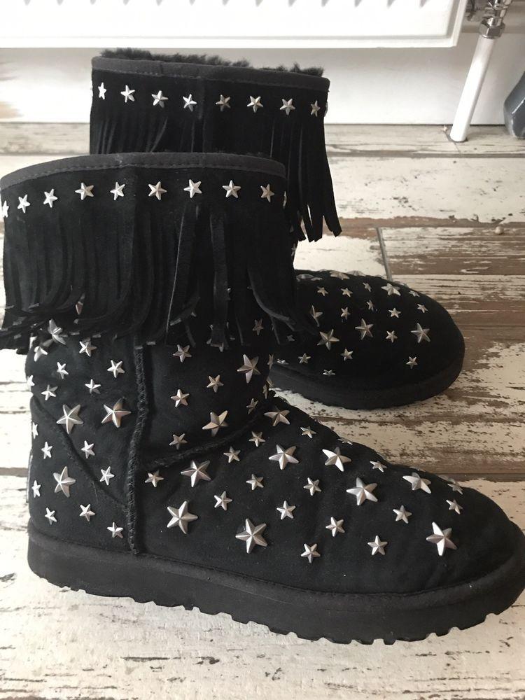 a5d7399f9af Genuine UGG Australia & Jimmy Choo Starlit Black Boots Size UK 6.5 ...
