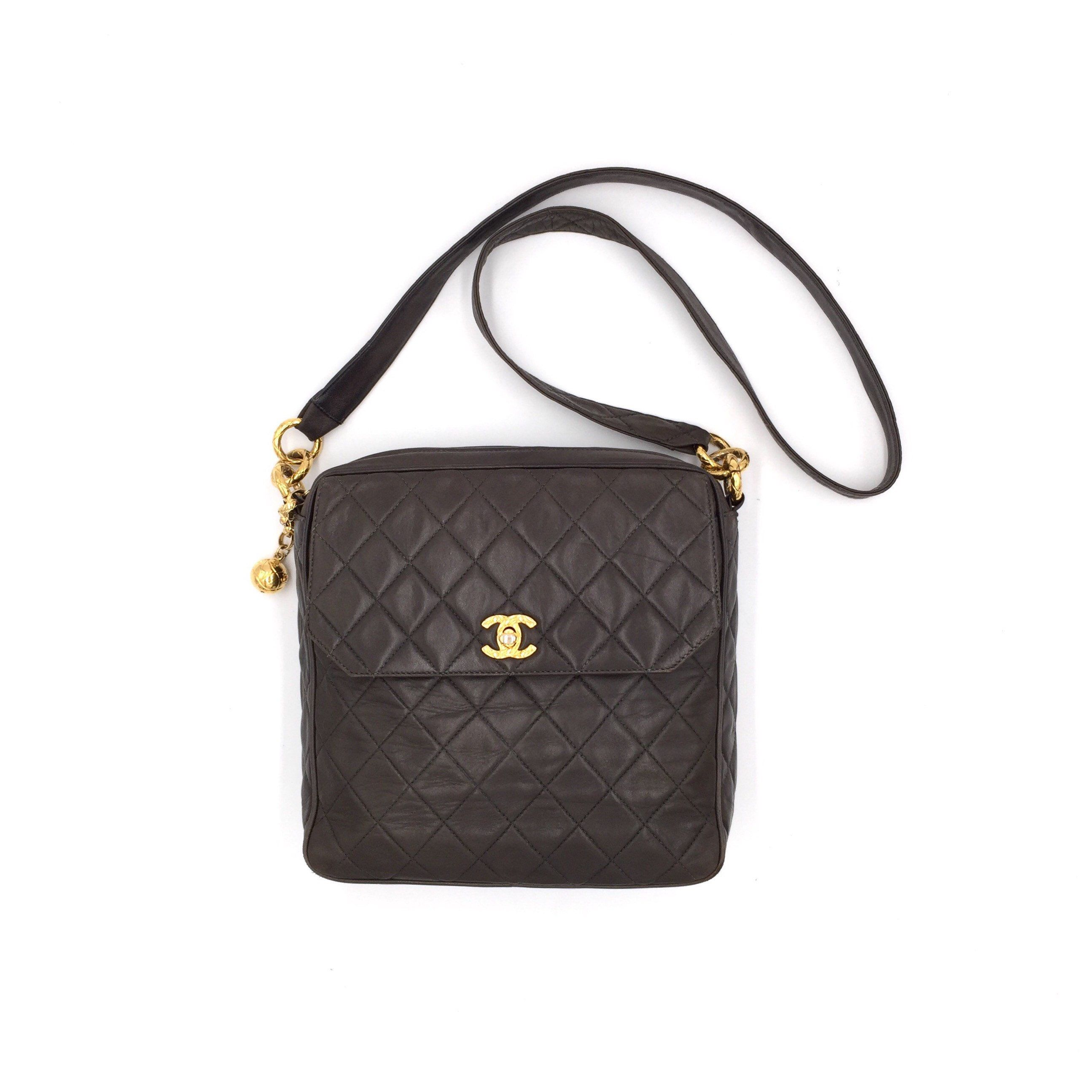 Authentic Chanel Vintage Quilted Lambskin Messenger Bag With Leather Strap