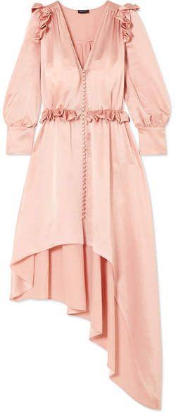 Tarragona Asymmetric Ruffled Silk-satin Dress - Blush Magda Butrym Free Shipping The Cheapest With Mastercard Cheap Online ZxO32vzlve