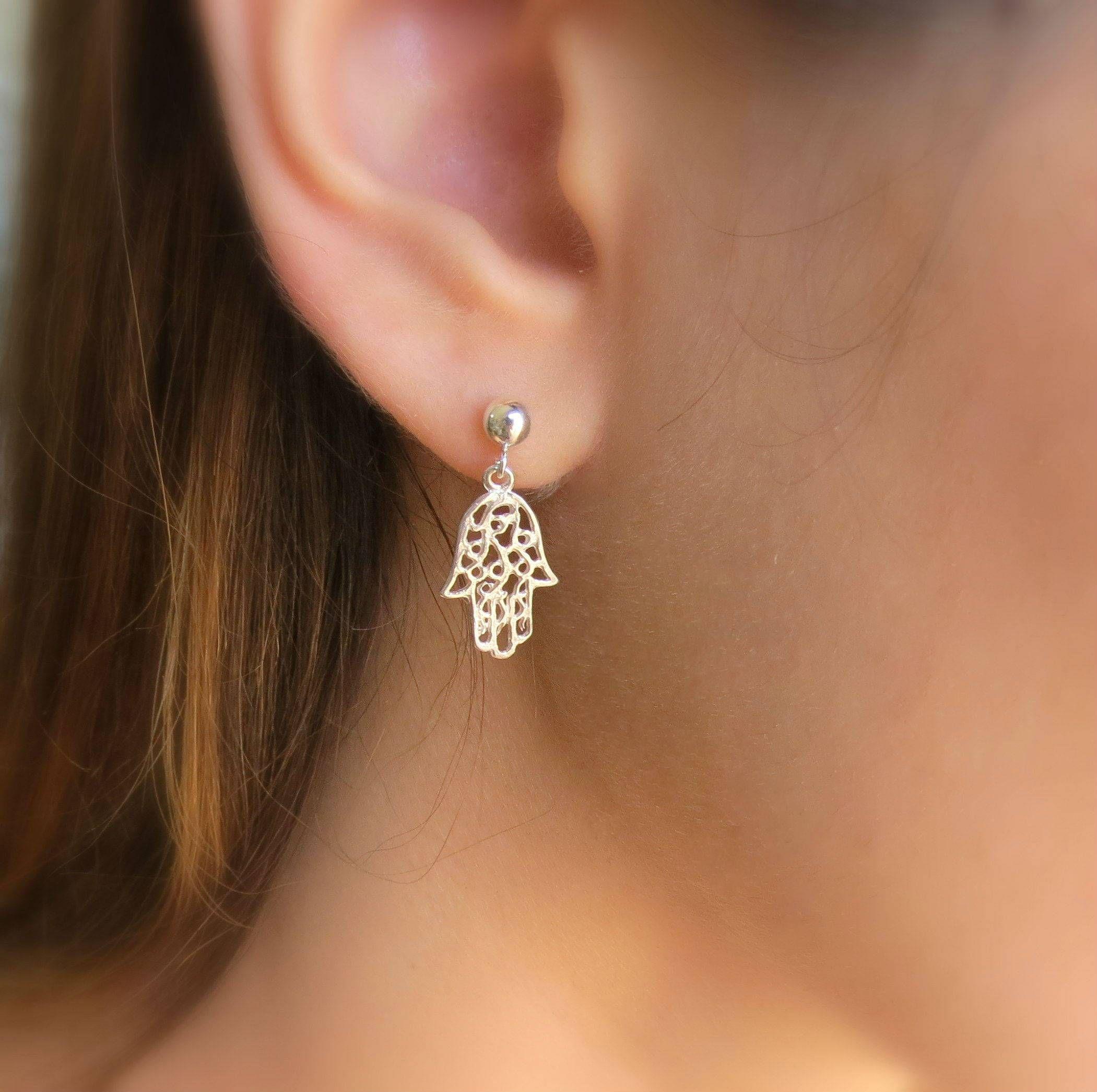 Hamsa Earrings Gold Stud Evil Eye