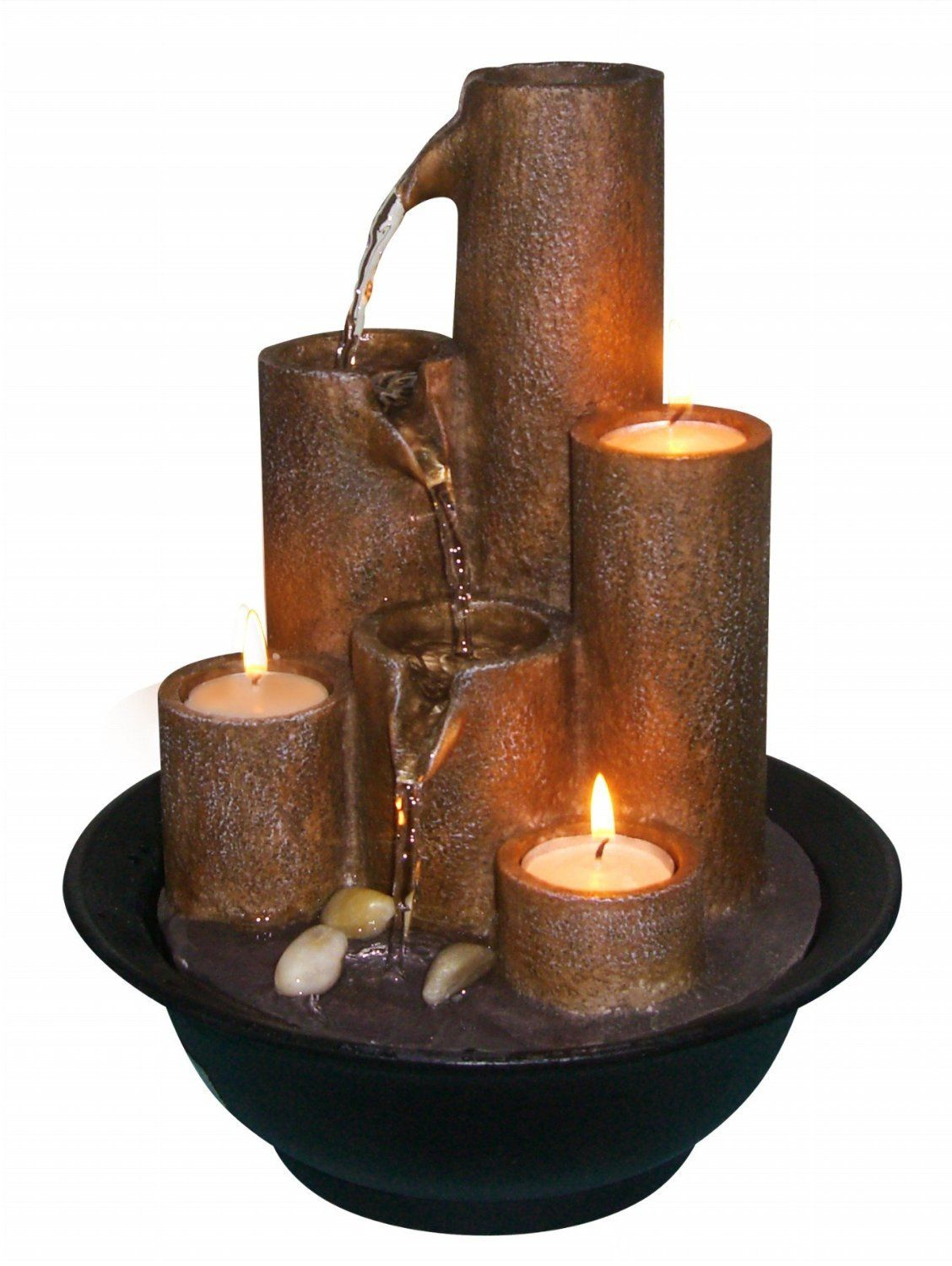 Water Fountain Tabletop Electric Pump Candles Resin Indoor Home