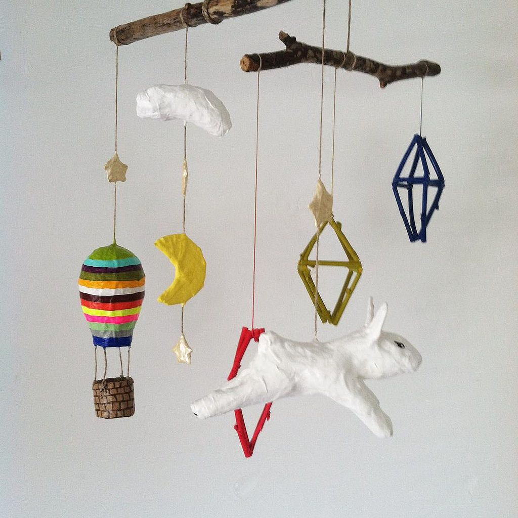 https://flic.kr/p/vCxtup | Color #twig mobiles pop #stripes #hotairballoon and more #Jikits #papermache en route to #Montreal #shopquebec @commedesenfants #kids #babymobiles