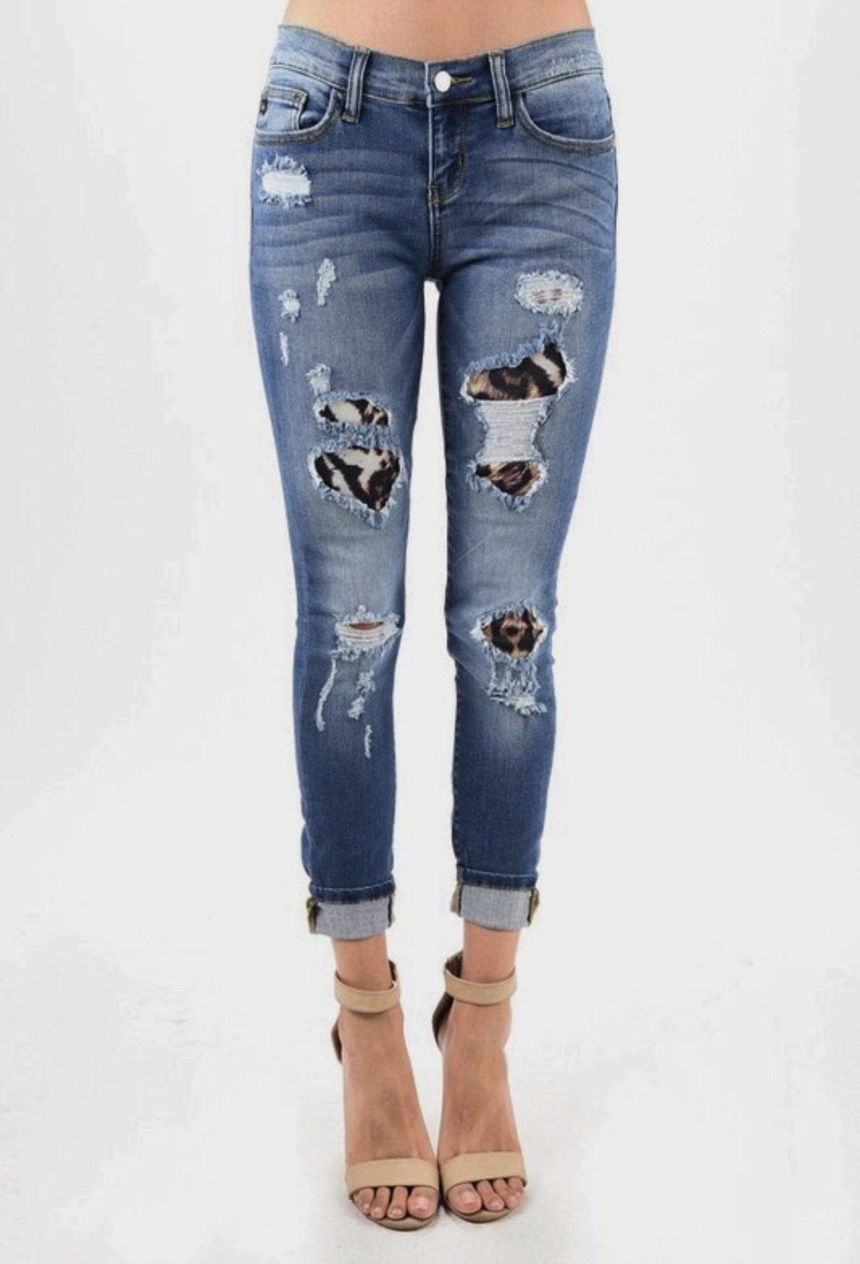 ed5c90c117f2 Leopard patch Judy blue jeans mid rise Ripped Jeans, Skinny Jeans, Tattered  Jeans,