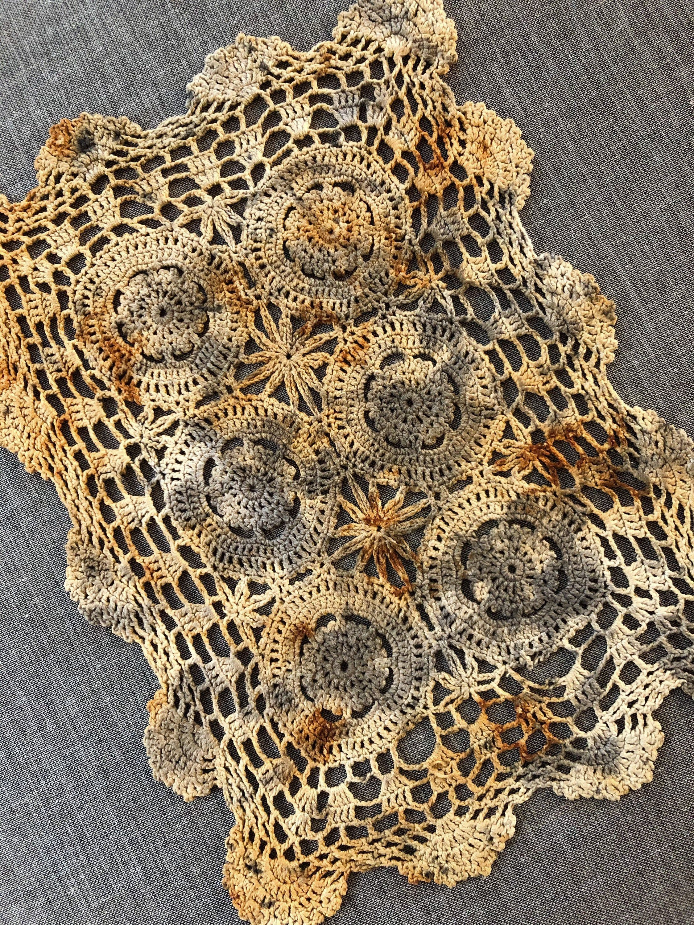 Hand Dyed Repurposed Doily