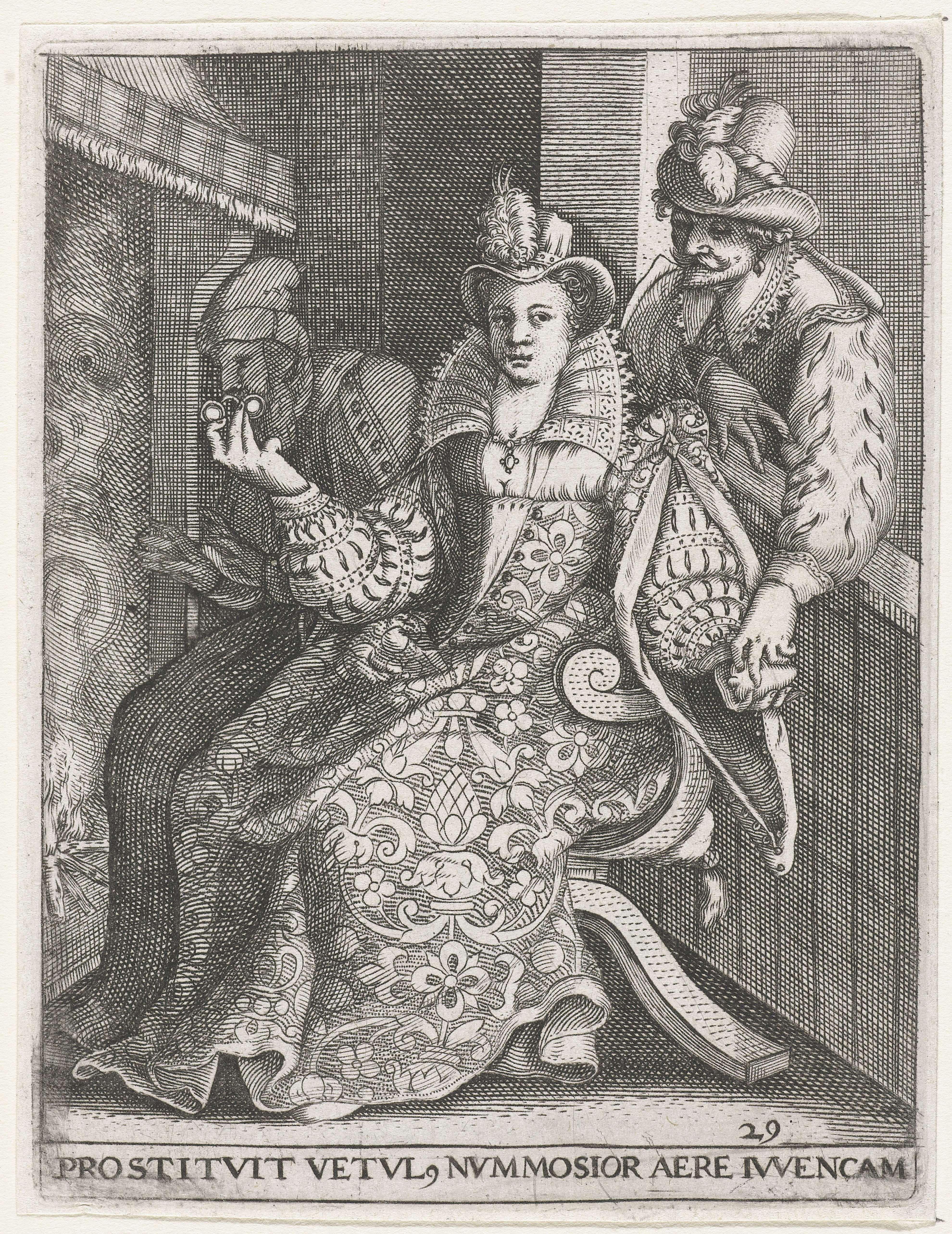 Johann Theodor de Bry   Jonge vrouw tussen een jonge en een oude man, Johann Theodor de Bry, Gillis van Breen, Pieter de Jode, 1596   Een elegant geklede dame zit voor een open haardvuur, tussen een jonge man aan wie zij haar hart schenkt en een oude man, die zij een bril voorhoudt. De jongeman neemt het hart in ontvangst. De oude man (den ouden couden hutselaer) wordt 'gebrild', dat wil zeggen bedrogen en mag zijn koude handen aan het haardvuur verwarmen. De prent van Gilles van Breen naar…