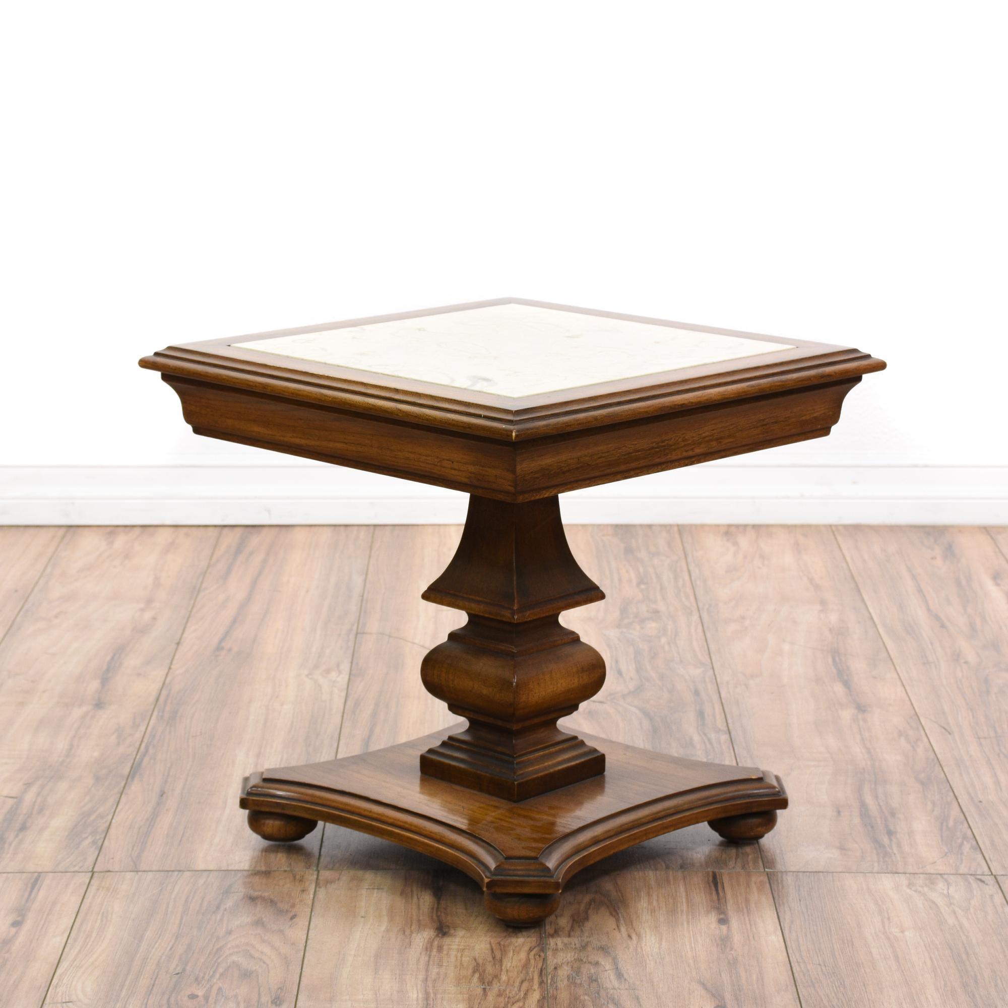 Marble Top Carved Oak Pedestal End Table