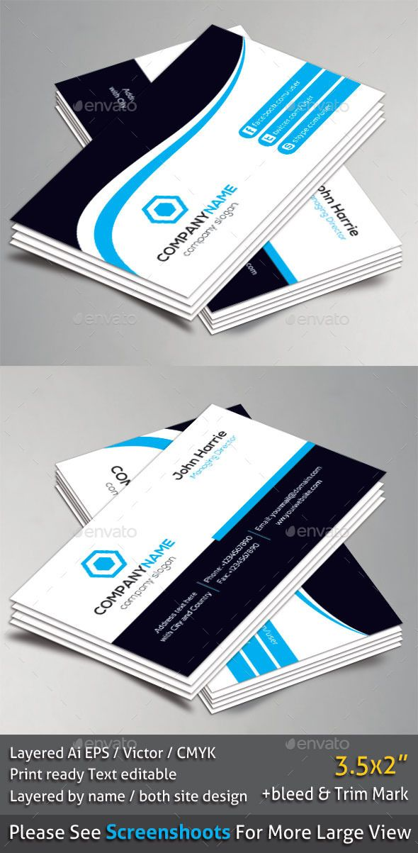 Corporate Business Card Business Card Templates Pinterest