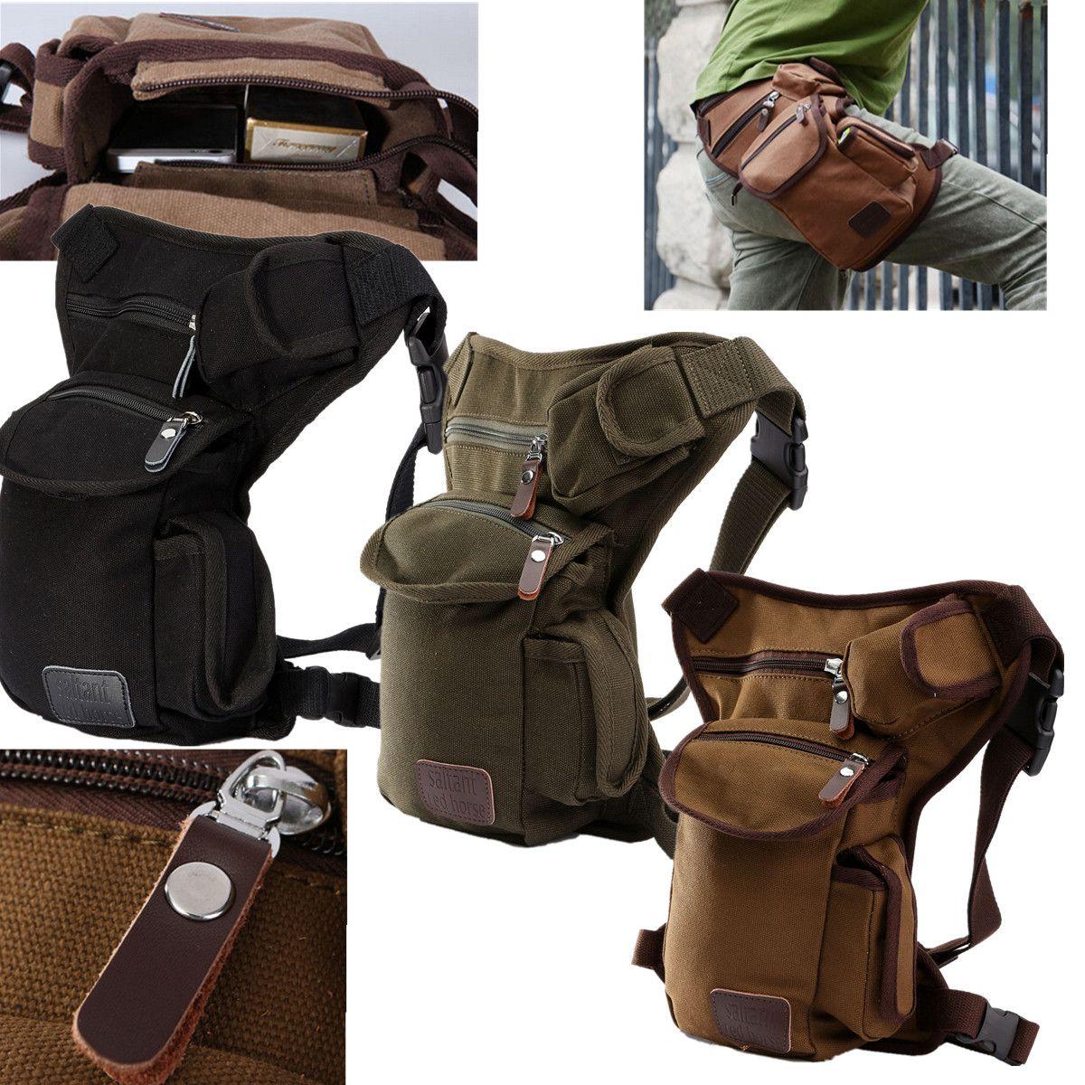 Men Outdoor Canvas Drop Waist Leg Bags Waist Pack Bag