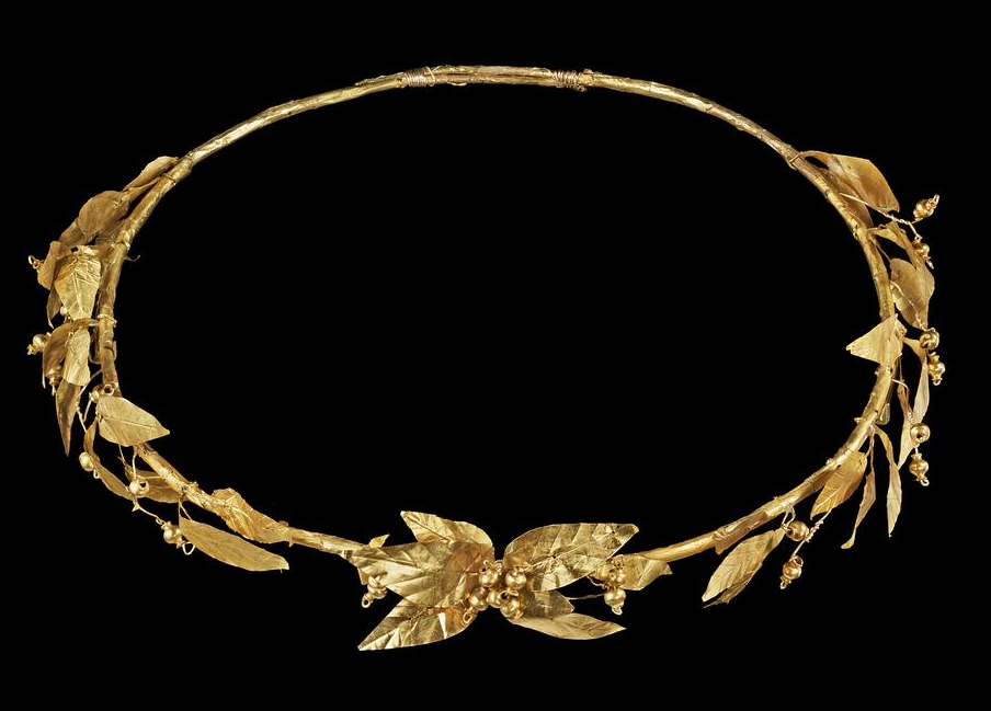 ROMAN EMPEROR Julius Caesar Senator Goddess GOLD PLATED METAL LAUREL LEAF CROWN