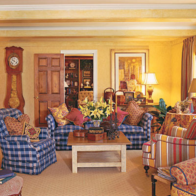 colorfulfrench country living room yellow walls blue furniture red accents - Country French Decor