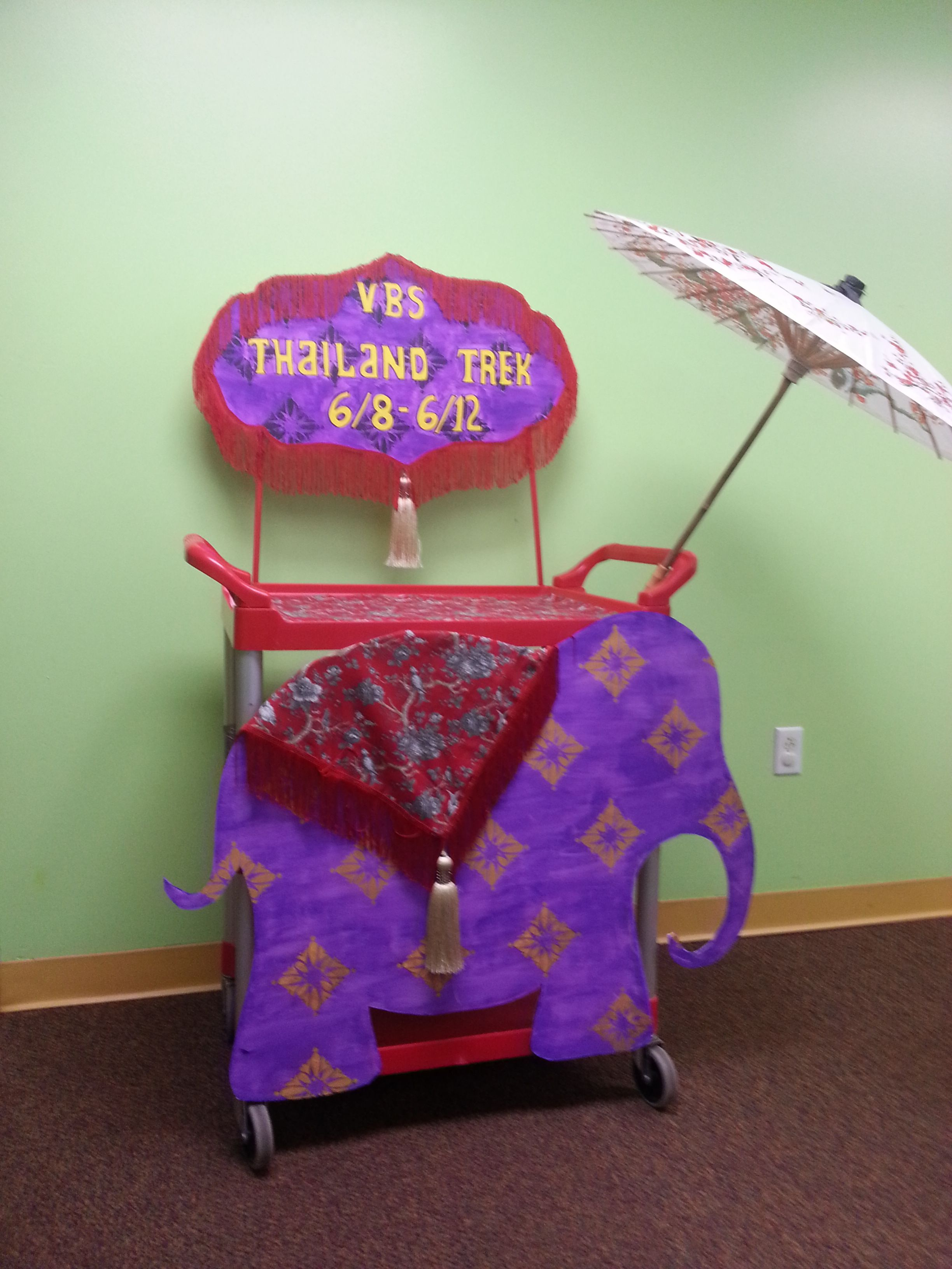VBS registration cart It is a regular cart with wheels and it can