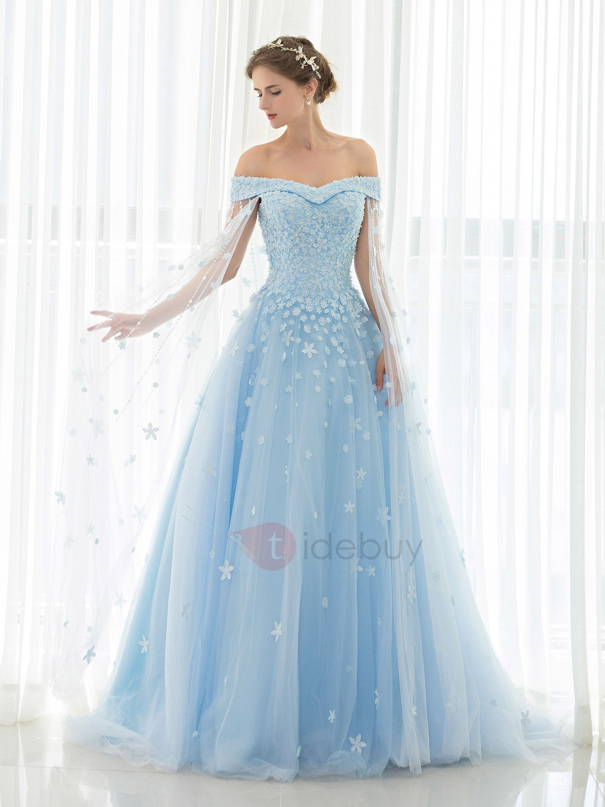 f87a09b3b8 ... Offers High Quality Eye-Catching Off-the-Shoulder Cap Sleeves Appliques  Beading Watteau Train Prom Dress