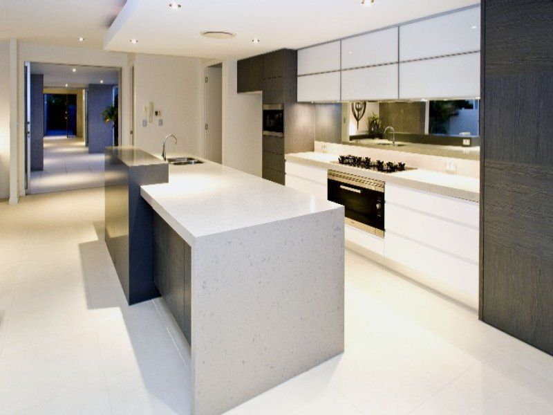 Kitchen Modern Granite like the raised section behind the sink - leaving the rest of the