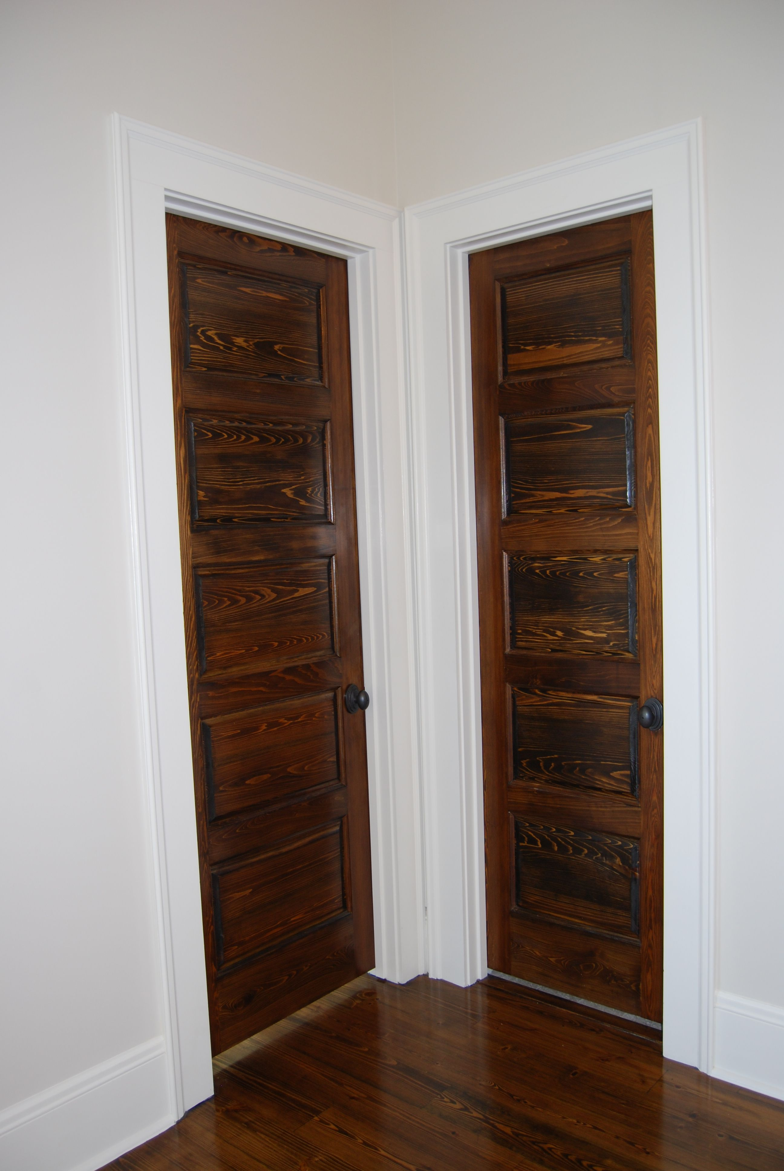 5 panel wood interior doors. Stained 5-panel Wood Doors With White Trim And Black Hardware 5 Panel Interior D