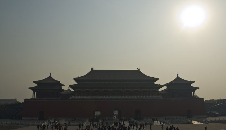 Beijing, China. Even though the sun is still high in the sky the air is too polluted to reflect the true colors of daylight. Photo by Tatiana Valerie #China #Beijing #pollution #artvesta #travel