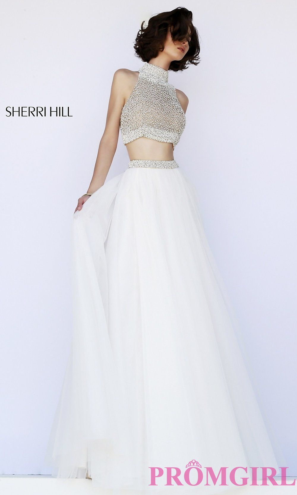 Sherri hill floor length two piece prom dress shops two pieces