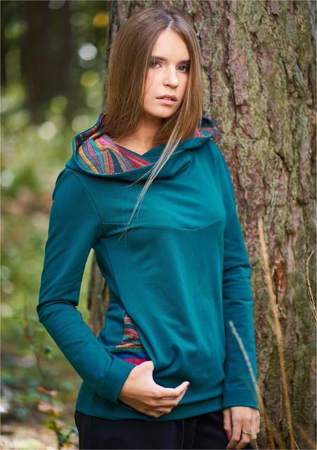 Bluza Z Kapturem Folga Szmaragdowa Fashion Jackets Athletic Jacket
