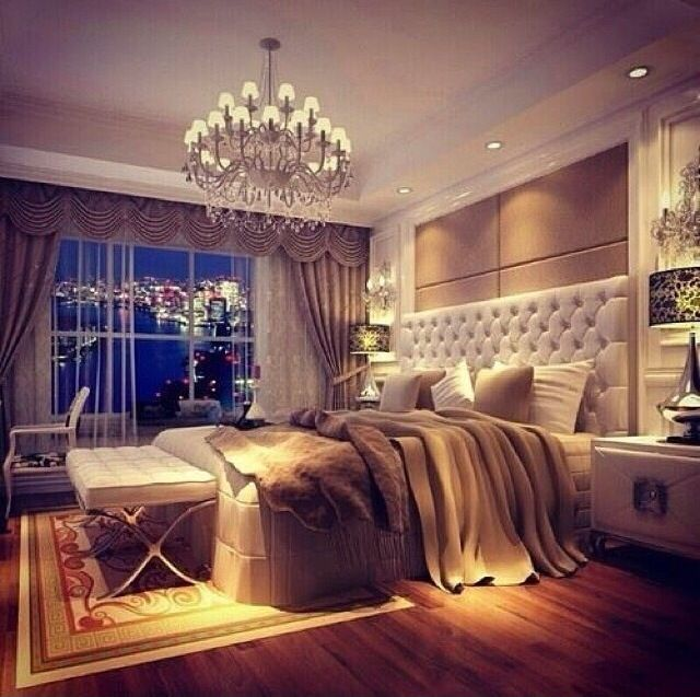Classy neutral bedroom in the city with chandelier For the Home