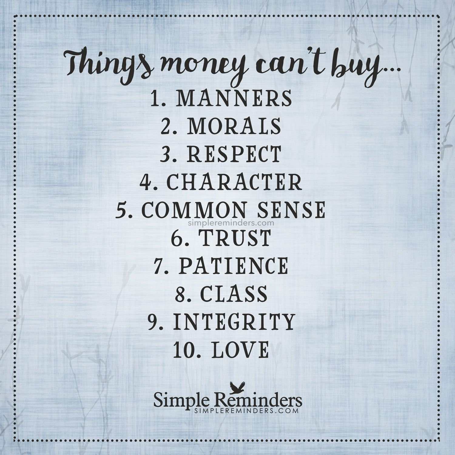 Things money cannot Things money can t 1 Manners