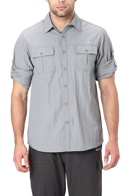 Men S Roll Up Long Sleeve Vented Shirt Lightweight Cooling Quick