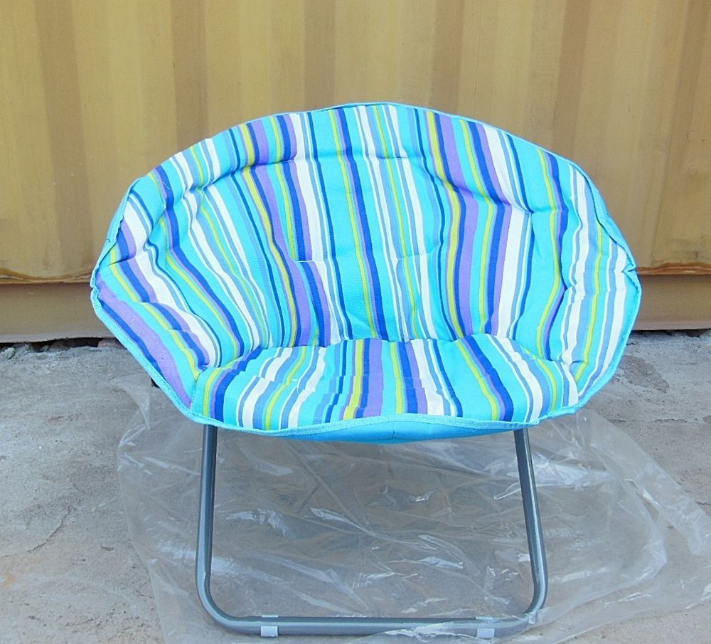 1X New Blue Stripe Padded Folding Moon Chair Moon chair