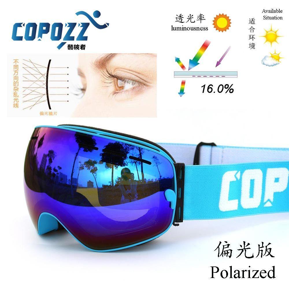 58e02a25d61 Polarized COPOZZ ski goggles double lens UV400 anti-fog big lagre glasses  skiing men women snowboard goggles GOG-201P